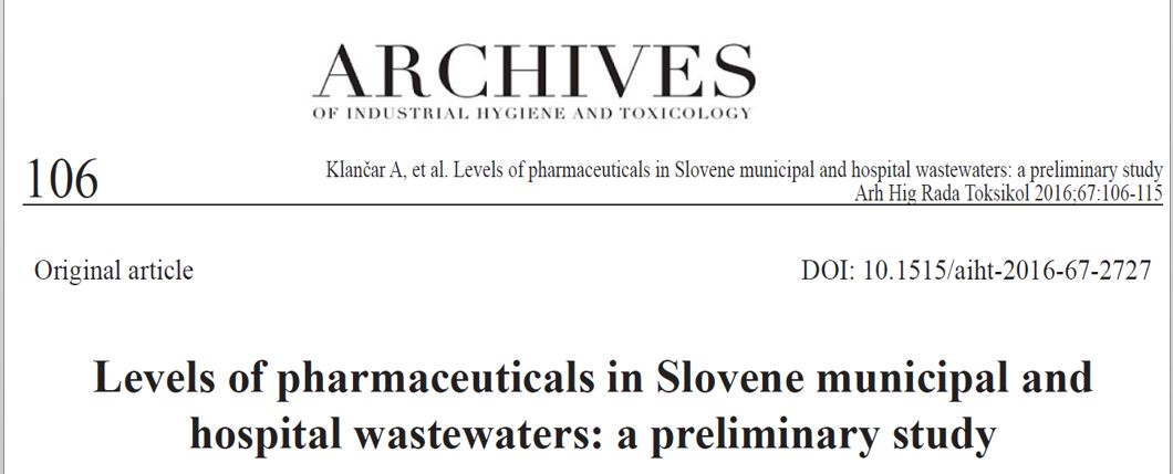 Our new publication on levels of pharmaceuticals found in wastewater