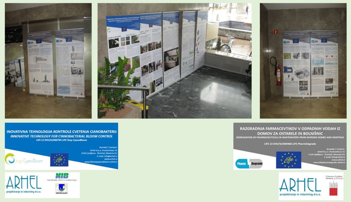 An exhibition in the lobby of the Slovenian Ministry of the Environment and Spatial Planning
